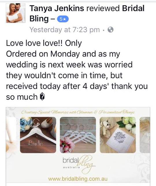 Bridal Bling Australia Happy clinets, Bridal Bling Australia client review.