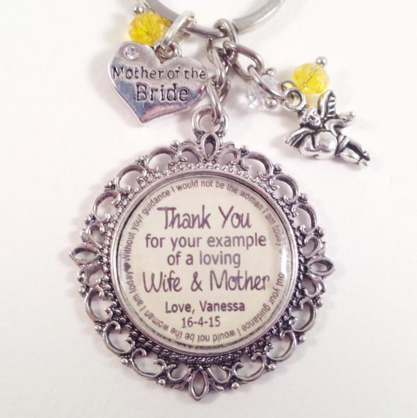 wedding key ring, gift for parents, wedding thank you for parents, personalised keyring