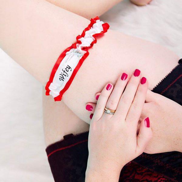 wifey wedding garter, personalised wedding garter, custom name wedding garter