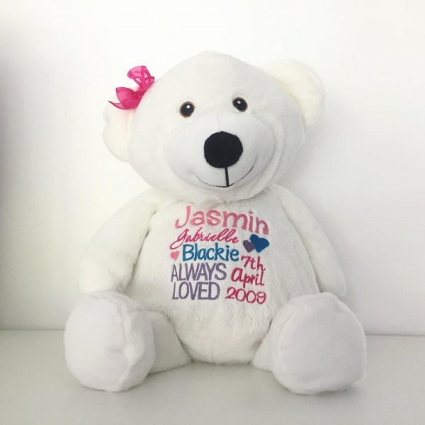 Large personalised Birth Bear, embroidery bear, new born baby gift, baby gift, personalised baby gift, personalised teddies Australia