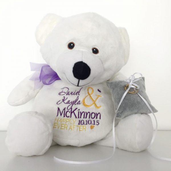 Large Ring Bear, ring bear alternatives, personalsied wedding gift for bride, bride teddy bear, bridal bear Australia