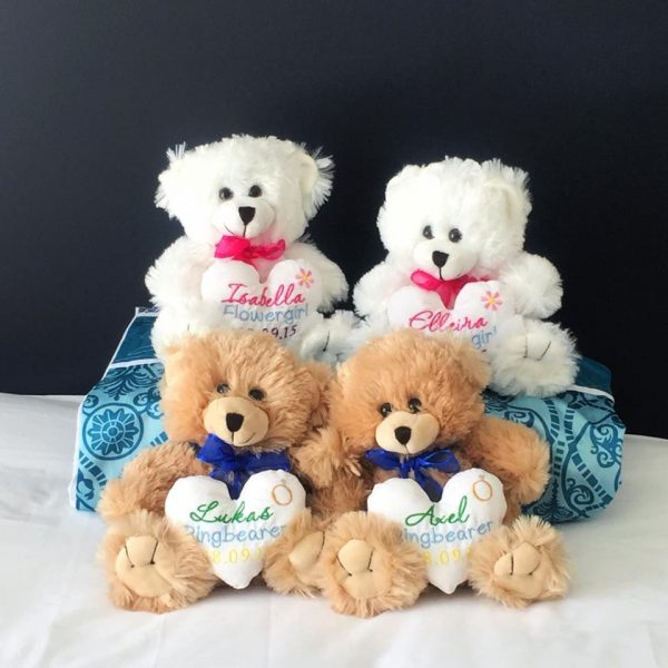 wedding gift for children, personalised flower girl teddy bear, ring bearer teddy bear, wedding gifts Australia, page boy teddy bear Australia