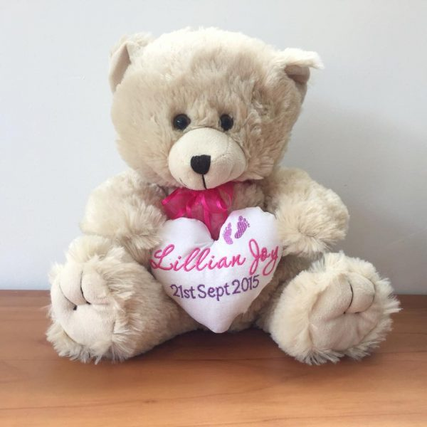 Birth Name Teddy Bear, personalised baby teddy bear, Personalised Bears Australia, personalised name bear