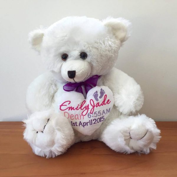 personalised baby teddy bear, personalised birth bear, personalised baby bear, teddy bear for new baby