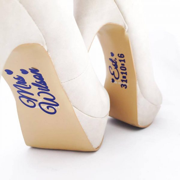 personalised shoe stickers, wedding shoe stickers, custom shoe stickers, wedding shoe stickers