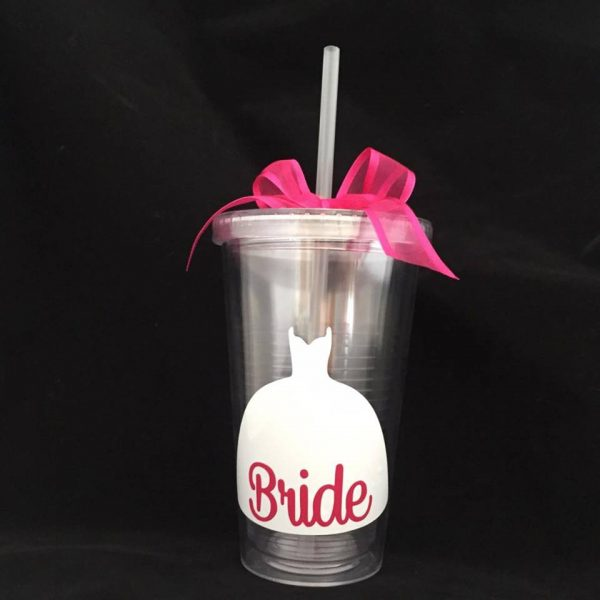Wedding Dress Tumbler, wedding drinking cup, cup for bride, cup for flower girls