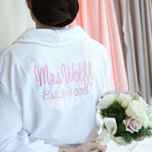 Robe with Name & Date on Back, embroidered robes for brides, white bride robe, personalised bridal robes Australia
