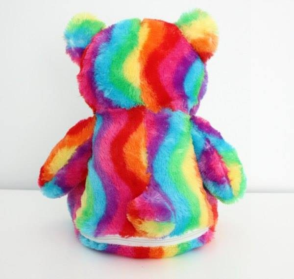 rainbow bear, embroidery rainbow bear, rainbow plush, personalised colourful bear Australia,
