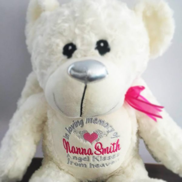 gift for nanna, memorial gift, in memory of gif, personalised embroidered angel bear, angel bear for funeral