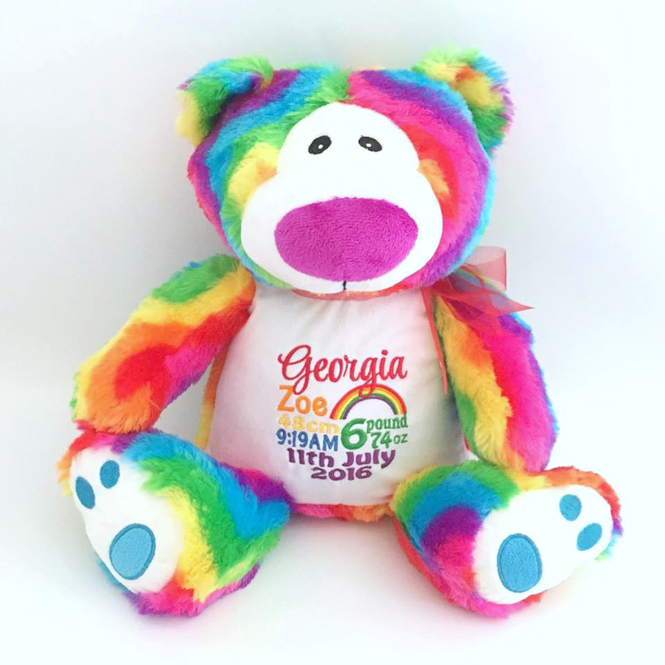 Rainbow bear for baby new baby gift bridal bling personalised bear rainbow rainbow bear australia personalised new baby gift birthday gift for negle Gallery