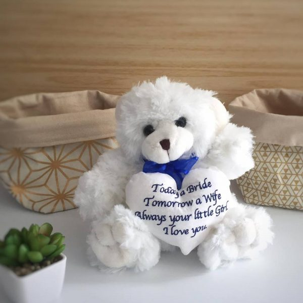 wedding teddy bear, personalised wedding bear, bride teddy bear, Personalised Teddy Bears Australia