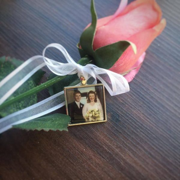 bouquet charm, remembering grandparents at weddings, in memory of photo charm
