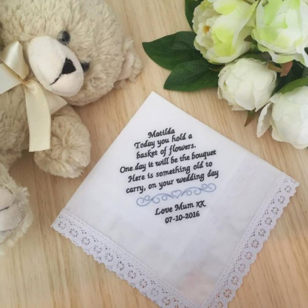 Handkerchief for Flower girls, customised handkerchief embroidered. wedding hanky for flowergirls, flower girl hankies, wedding handkerchiefs Australia