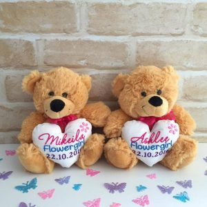 personalised flower girl gift, wedding gift for flower girl, flower girl teddy bear, wedding teddies Australia