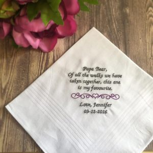 Father of the Bride Handkerchief, embroidered wedding handkerchiefs, personalised embroidered wedding handkerchiefs, bridal hankies Australia, wedding hankies, father of the bride hanky