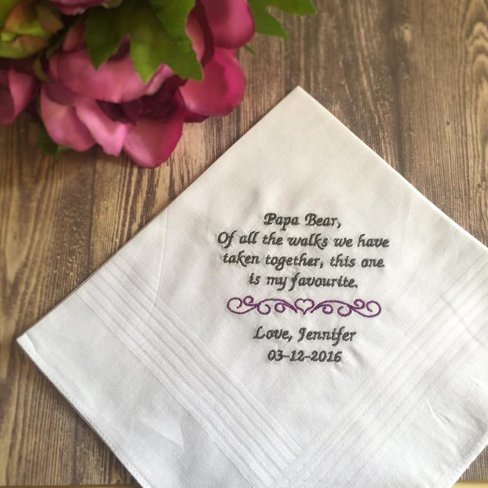 NEW PERSONALISED WOMEN HANDKERCHIEF HANKIE WEDDING GIFT MUM TEARS LADIES BRIDE