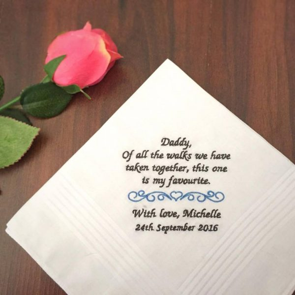 daddy wedding gift, personalised embroidered wedding handkerchiefs, embroidered handkerchief mens