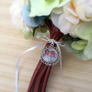Large Round Memory Charm, wedding bouquet memory charm, photo locket, bridal bouquet charm