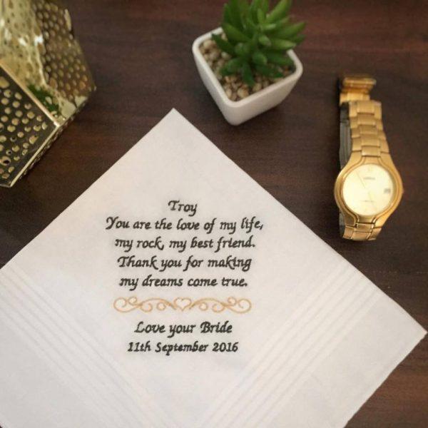 embroidered wedding handkerchiefs, Groom Handkerchief, mens embroidered handkerchiefs, handkerchiefs for wedding