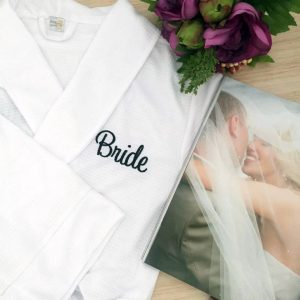 Robe with Name on Back & Title on Pocket, bride robe, personalised waffle robe, brides and bridesmaid robes, personalised bride robe Australia