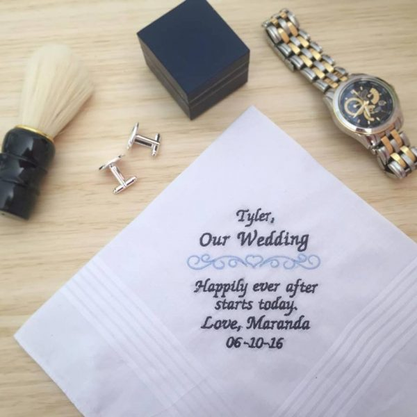 personalised handkerchief, Embroidered handkerchiefs Australia, Gift for Groom, Grooms Gift, wedding hanky