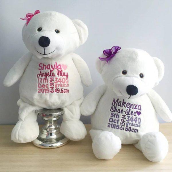 personalised bears, angel bears, angel teddy bears, white personalised bear, embroidered teddy bear Australia, personalised embroidered bear