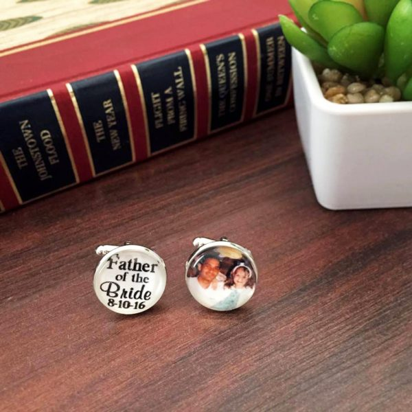 personalised cufflink,s father of the bride cuff links, photo cuff links Australia