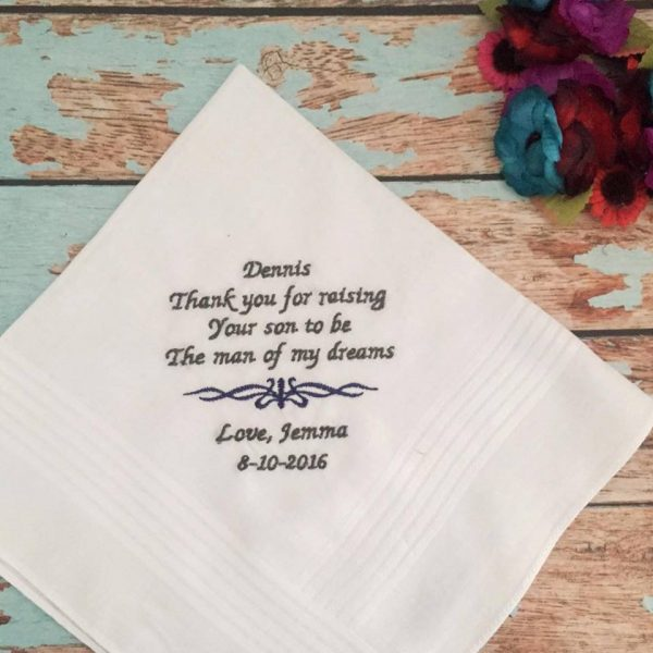 personalised Hanky, bridal hanky, personalised handkerchiefs wedding, father of the groom hanky, father in law gift, handkerchief embroidered