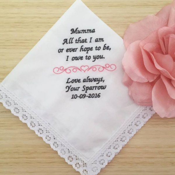 gift for mother of the bride, ladies embroidered handkerchiefs, handkerchief for mother of the bride