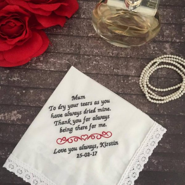 custom embroidered handkerchiefs, personalized hankies for wedding, ladies embroidered handkerchiefs