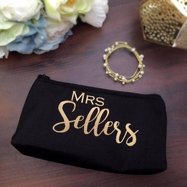 Mrs Makeup Purse, bridal bag for wedding day, Birthday gift for girls, gift for her, teacher gift,