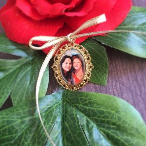 Gold Memory Charm, memory charms, photo charms for wedding bouquet, remembering grandparents at weddings