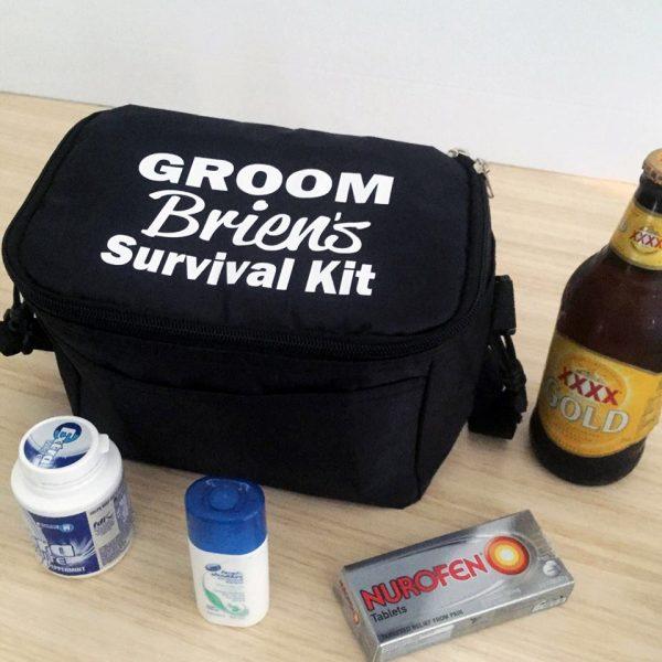 Groom Survival Kit Cooler, wedding gifts for bestman and ushers, groom survival kit, personalised cooler bag, insulated cooler bag for wedding