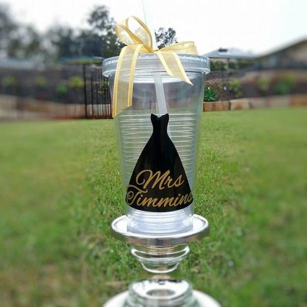 bride tumbler, bride cup with straw, personalised cup with straw, all things bridal aus, personalised bride gifts Australia