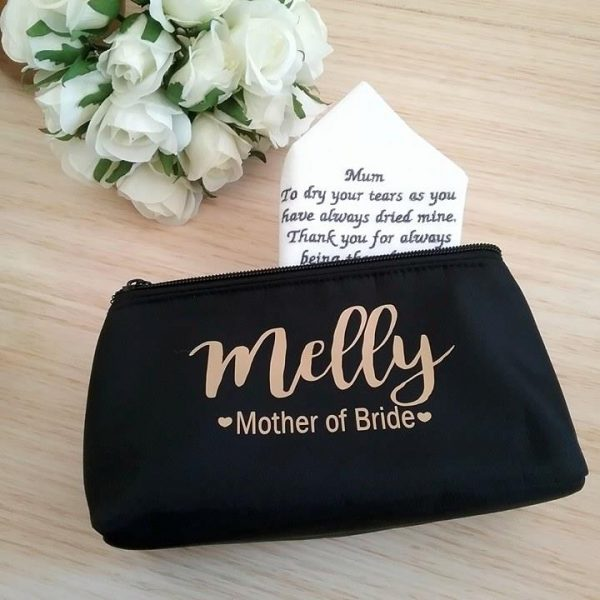 mother of the bride gift, makeup purse for mother of the bride, personalised makeup bag, mother of the groom gift idea