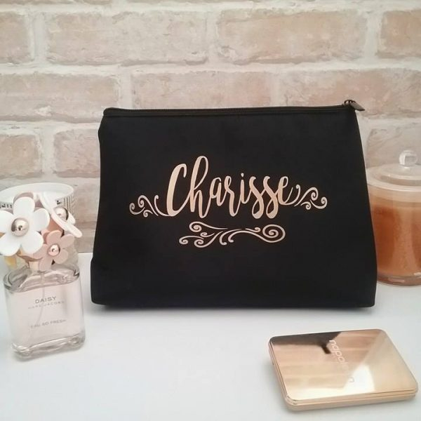 designer makeup bag, personalised wedding, bridesmaid gifts australia, makeup travel bag australia