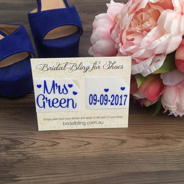 Mrs Name Shoe Sticker, mrs est shoe stickers, wedding stickers for shoes, personalised shoe stickers for wedding shoes