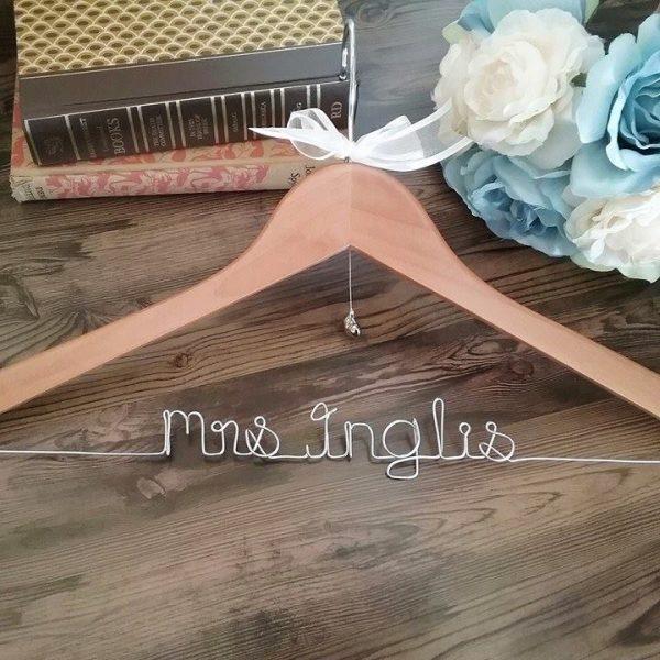 personalised hangers australia, custom wedding dress hanger, wire wedding hanger, Mrs Hangers