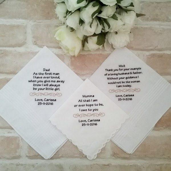 wedding hankies, personalised hankies, bridal hankies australia