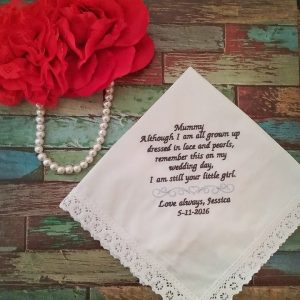 mother of bride handkerchief, Wedding handkerchief for Mum, Personalised Hankies Australia.