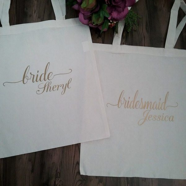 Title and Name Tote, personalized bridesmaid tote bags, personalised wedding tote bags, bridesmaids bags and totes Australia