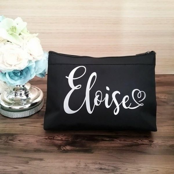 personalised makeup bag australia, mother of the groom gift, bridesmaid makeup bag, bridal bling australia