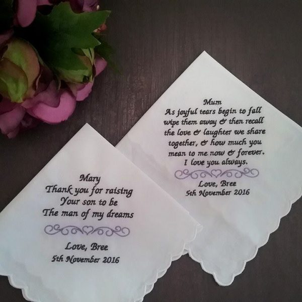 gift for mothers at wedding, embroidered handkerchiefs for mothers, handkerchief mother of the bride