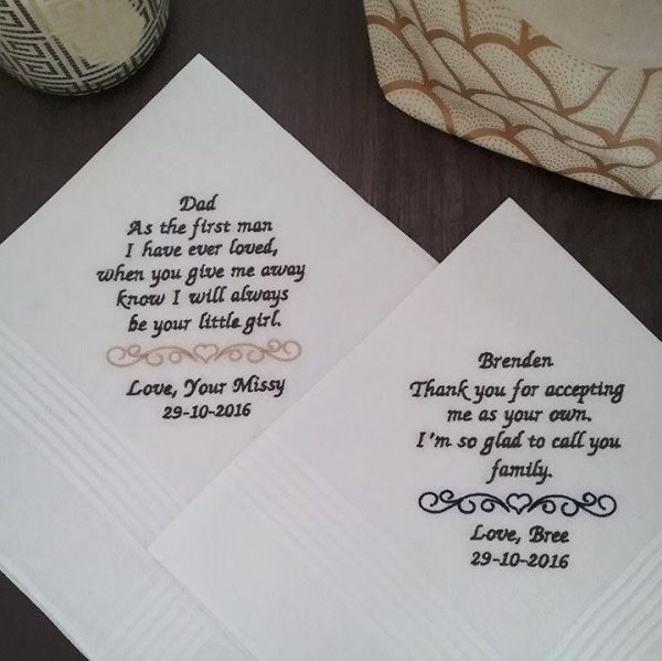 embroidered handkerchiefs for father of the bride, custom embroidered handkerchief, personalised wedding handkerchief