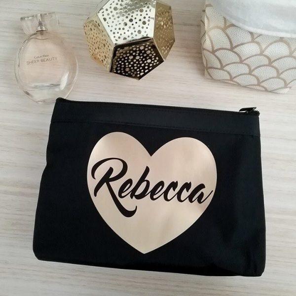 black makeup bag, personalised bags australia, bridal party gift, wedding gift, personalised cosmetic bag, bridal bling australia
