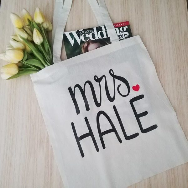 Mrs Name Tote, Personalised Mrs Tote, Bride Tote Bag, bridesmaid tote bag, wedding gifts for bridal party,