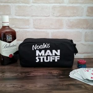 Mans Stuff Toiletry Bag, wedding gift for groomsmen, mens toiletry bag, personalised toiletry bag, personalised gift idea for guys