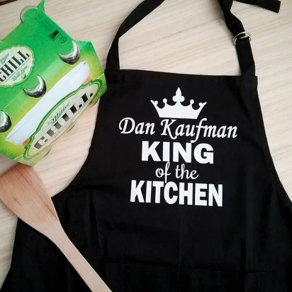 King of the Kitchen Apron, personalised apron, gift for him, personalised gift for men, Christmas gift for men, personalised aprons for men