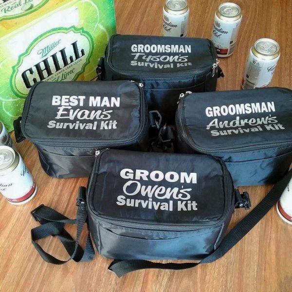 Wedding Survival Kit Cooler, groom gift, personalised cooler bag, wedding gift for groomsmen, groom emergency kit, funny groom gift