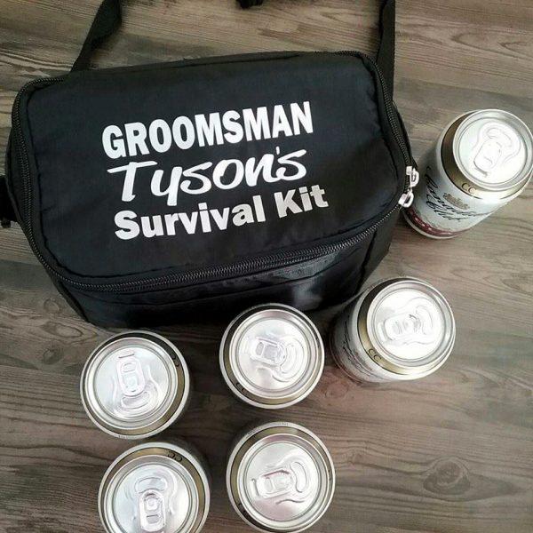 personalised groomsmen gift, personalised cooler bag, wedding gift for groom, groom survival kit cooler bag